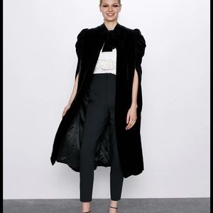 NEW | Zara Lux Black Velour Tie Cape Jacket